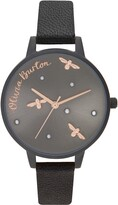 Olivia Burton Pearly Queen Leather Strap Watch, 34mm