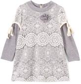 Baby Sara Gray & Cream Crochet Overlay Tunic