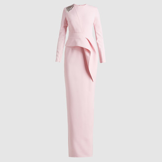 Safiyaa Pink Philo Embroidered Long Sleeve Gown Size FR 36