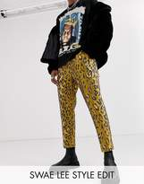 Asos Edition ASOS EDITION tapered smart trousers in leopard jacquard