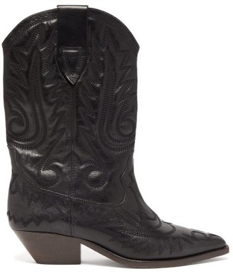 Isabel Marant Duerto Distressed-leather Western Boots - Womens - Black
