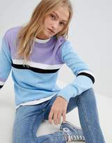 Daisy Street Relaxed Sweater With Color Block Stripe