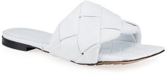 Bottega Veneta Puffy Intreccio Square-Toe Flat Slide Sandals