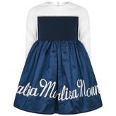 MonnaLisa MonnalisaBaby Girls Ivory & Navy Embroidered Dress