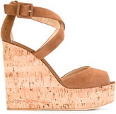 Giuseppe Zanotti Design platform wedge sandals - women - Cork/Leather/Suede - 36.5