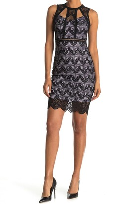 GUESS Geo Lace Sheath Dress