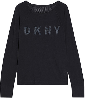 DKNY Mesh-paneled Printed Slub Cotton-jersey Top