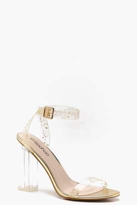 boohoo Glitter Clear 2 Part Block Heels