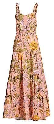 Johanna Ortiz Women's Floral Tiered Bustier Maxi Dress