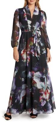 Tahari Watercolor Drape Neck A-Line Gown