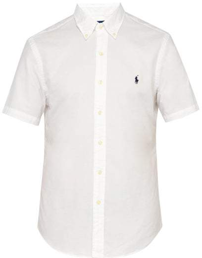 Polo Ralph Lauren Logo Embroidered Button Down Shirt - Mens - White