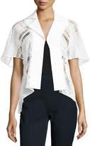 Talbot Runhof Lace & Textured Stretch-Cotton Jacket, White