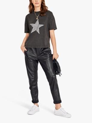 Hush Faded Star Crew Neck T-Shirt, Black