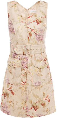 Zimmermann Belted Floral-print Linen Mini Dress