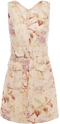 Zimmermann Sabotage Belted Floral-print Linen Mini Dress