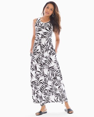 Soma Intimates Sleeveless High Neck Maxi Dress Fiji Palm Grand White