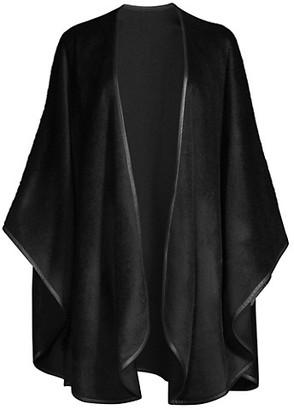 Sofia Cashmere Leather-Trim Alpaca-Blend Cape