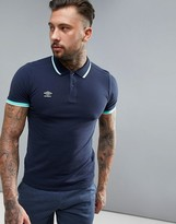 Umbro Tipped Pique Polo In Navy