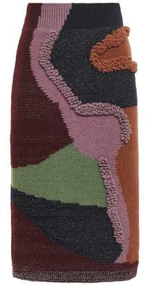 Peter Pilotto Boucle-trimmed Intarsia Cotton-blend Skirt