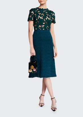 Oscar de la Renta Lace-Bodice Tweed Skirt Cocktail Dress