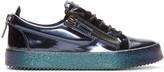 Giuseppe Zanotti Blue Metallic Leather Low-top London Sneakers