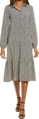 Charles Henry Tiered Long Sleeve Midi Shirtdress