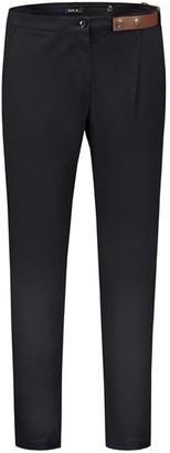 Eva D. Pleated Trousers With Unique Assymetric Belt Detail Black