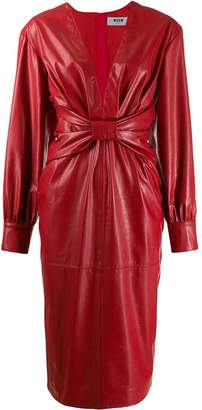MSGM gathered plunge dress