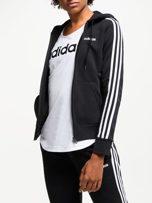 adidas Essentials 3-Stripes Full Zip Training Hoodie, Black
