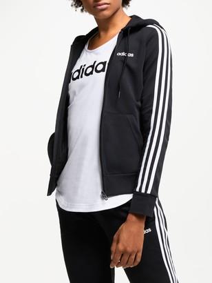 adidas Essentials 3-Stripes Full Zip Training Hoodie, Black