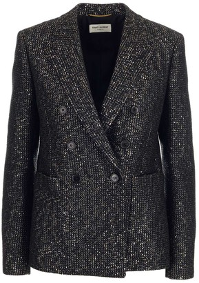 Saint Laurent Double-Breasted Sequinned Jacket