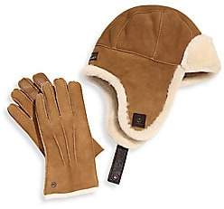 UGG Men's Two-Piece Shearling Sheepskin Hat and Smart Leather Gloves Set