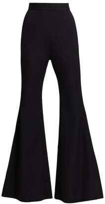 Balmain High-Waist Wool Flare Pants