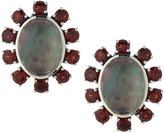 Stephen Dweck Gray Mother-of-Pearl & Red Garnet Clip Earrings