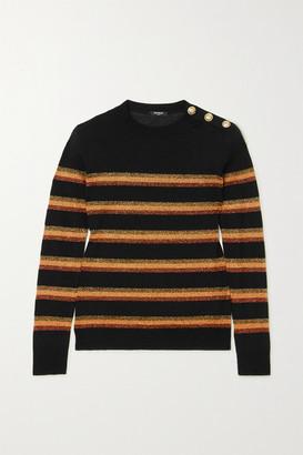 Balmain Button-embellished Lurex-trimmed Wool Sweater - Black