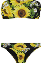 Dolce & Gabbana Floral-print Bandeau Bikini - Yellow