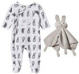 Hust&Claire Bunny Print Nightsuit with Plush Blanket Toy