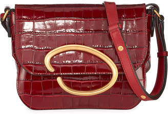 Oscar de la Renta Oath Mock-Croc Leather Shoulder Bag