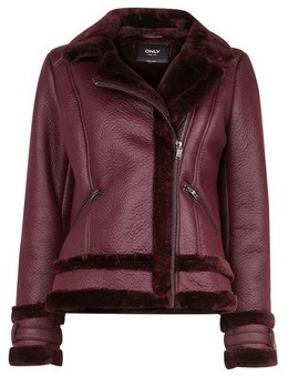 Dorothy Perkins Womens Only Mulberry Shearling Aviator Jacket