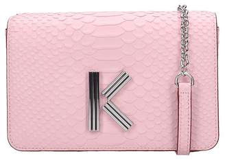 Kenzo Clutch In Rose-pink Leather