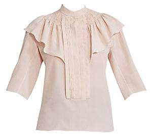 Chloé Women's Short Sleeve Smocked Ruffle Blouse