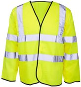 Forever Mens Hi Viz Long Sleeve High Vis Visibility Waistcoat Workwear Vest Jacket
