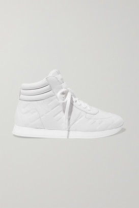 Fendi Logo-embossed Leather High-top Sneakers - White