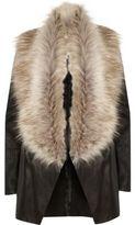 River Island Womens Black faux fur collar fallaway jacket