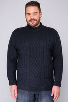 Yours Clothing BadRhino Navy Crew Neck Cable Knit Sweater