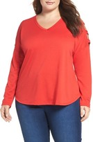 Bobeau Plus Size Women's Lattice Sleeve French Terry Top
