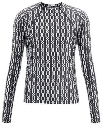 GmbH Chain-print Jersey Long-sleeved T-shirt - Black White