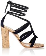 Gianvito Rossi Women's Cayman Leather & Suede Ankle-Tie Sandals-NAVY