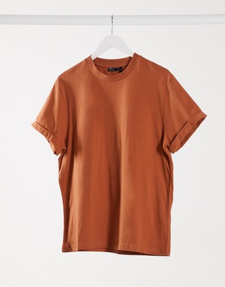 ASOS DESIGN t-shirt with roll sleeve in tan