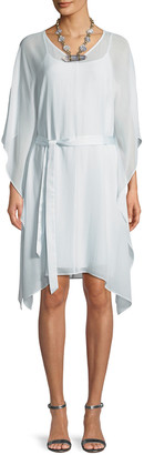 Eileen Fisher Sheer Silk V-Neck Caftan Dress w/ Belt